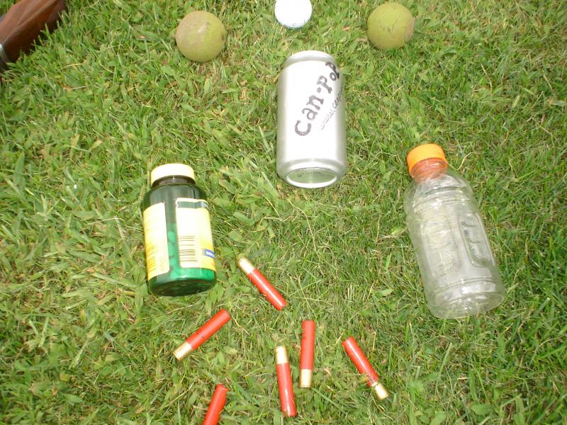 Choose from a variety of targets, plastic bottles, alum. cans, walnuts, golf bal
